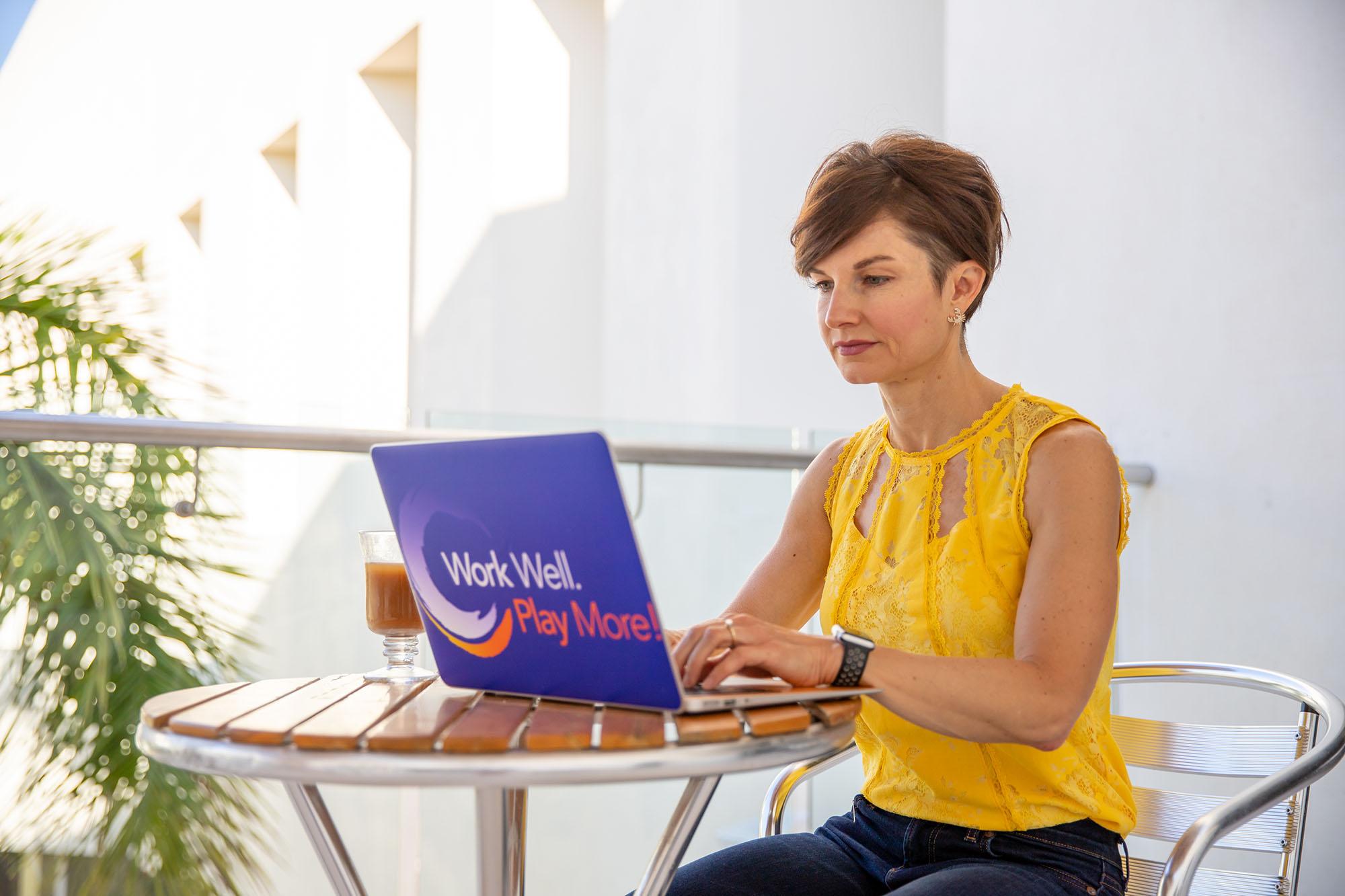 Working at Laptop